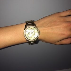 Gold Fossil Watch with rhinestones